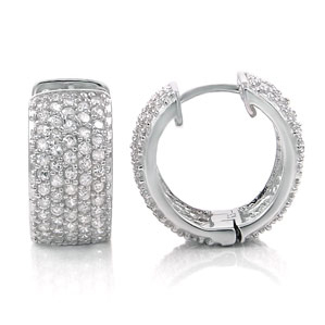 Sterling Silver 5 Row CZ Micro Pave Huggies Earrings