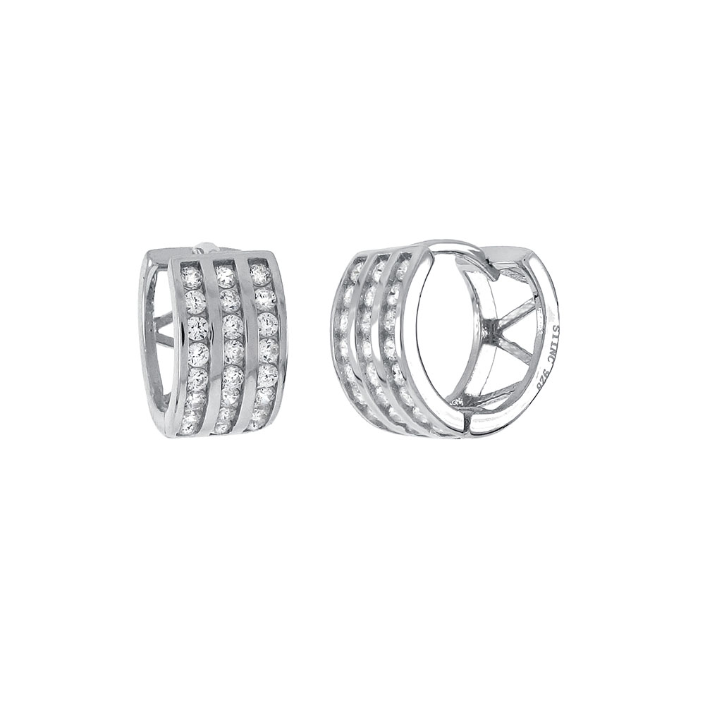 Sterling Silver 3 Lines Cubic Zirconia Huggie Earrings