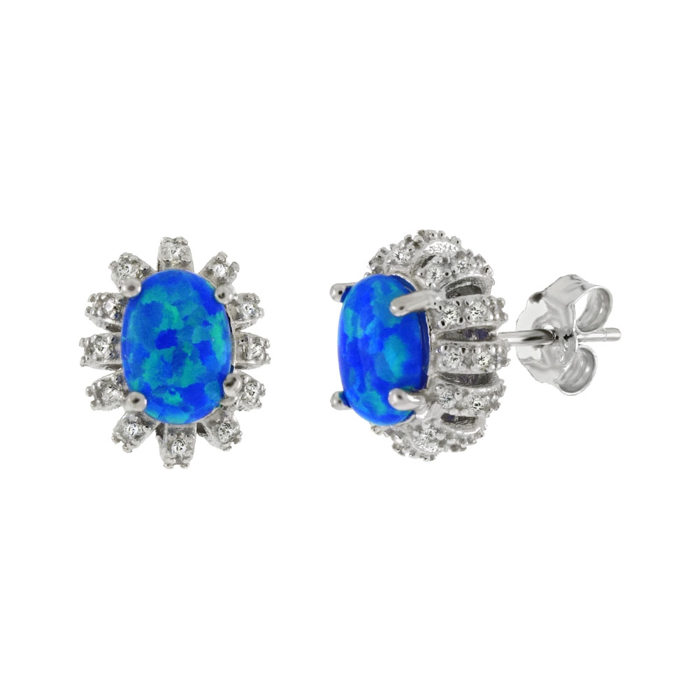Sterling Silver Simulated Oval Blue Opal W. CZ Stud Earrings