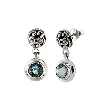 Sterling Silver 5mm Aquamarine Oxidized Earrings