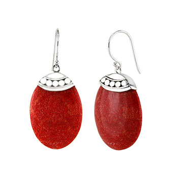 Sterling Silver Oval Coral Earrings