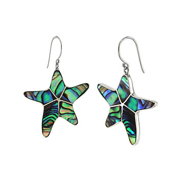 Sterling Silver Starfish Abalone Shell Earrings