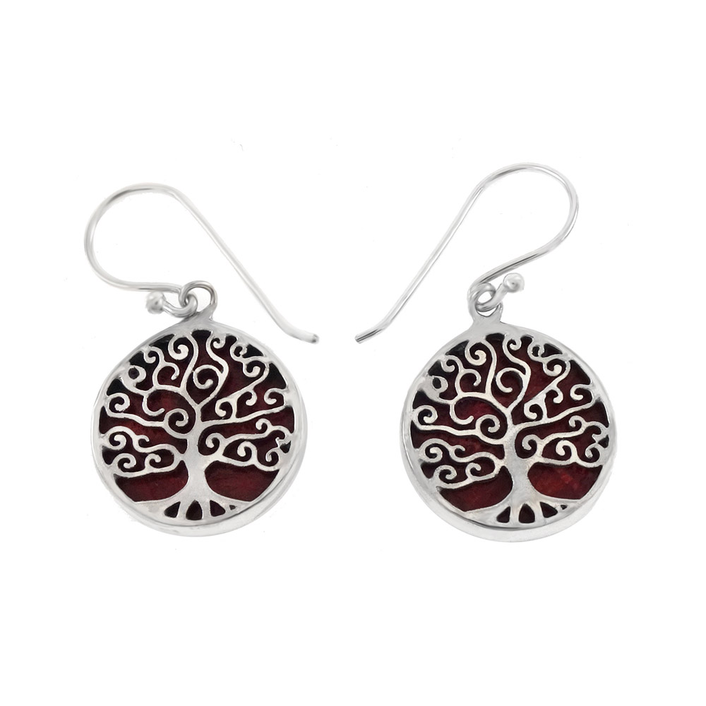 Sterling Silve Tree Of Life Red Coral Earrings