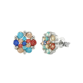 Sterling Silver Multi Color Crash Stone Rhodium Earrings