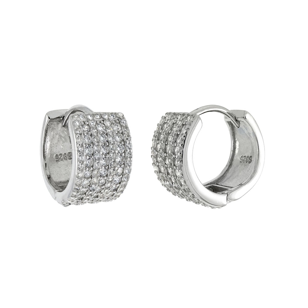 Sterling Silver 7 Lines Pave CZ Huggie Earrings