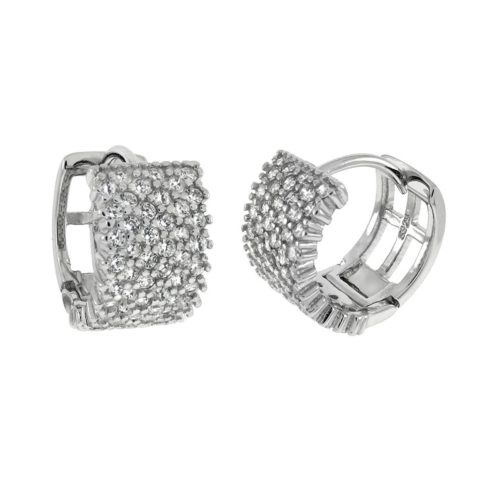 Sterling Silver 6 Lines Pave CZ Huggie Earrings