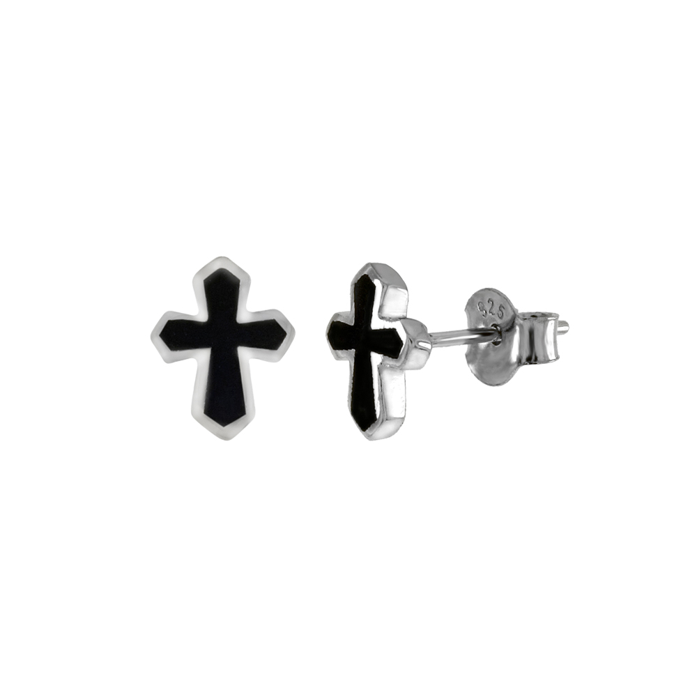 Sterling Silver Enamel Cross Stud Earrings
