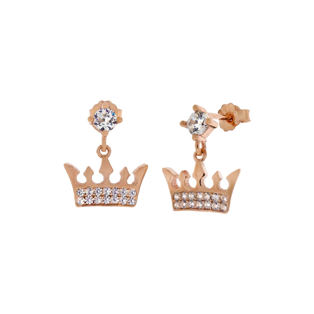 Sterling Silver CZ Crown Rose Gold Plated Dangle Earrings