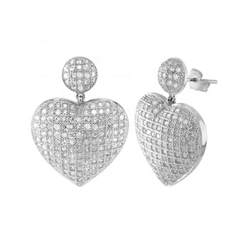 Sterling Silver CZ Heart Micro Pave Rhodium Earrings