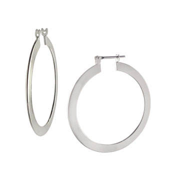 Italian Sterling Silver Flat Tube Hoop Earrings