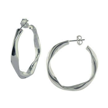 Italian Sterling Silver Twist Tube Post Earrings