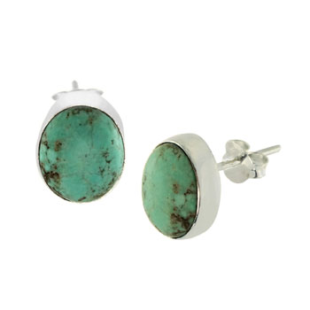 Sterling Silver Genuine Oval Turquoise Stud Earrings
