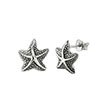 Sterling Silver Oxidised Starfish Earrings