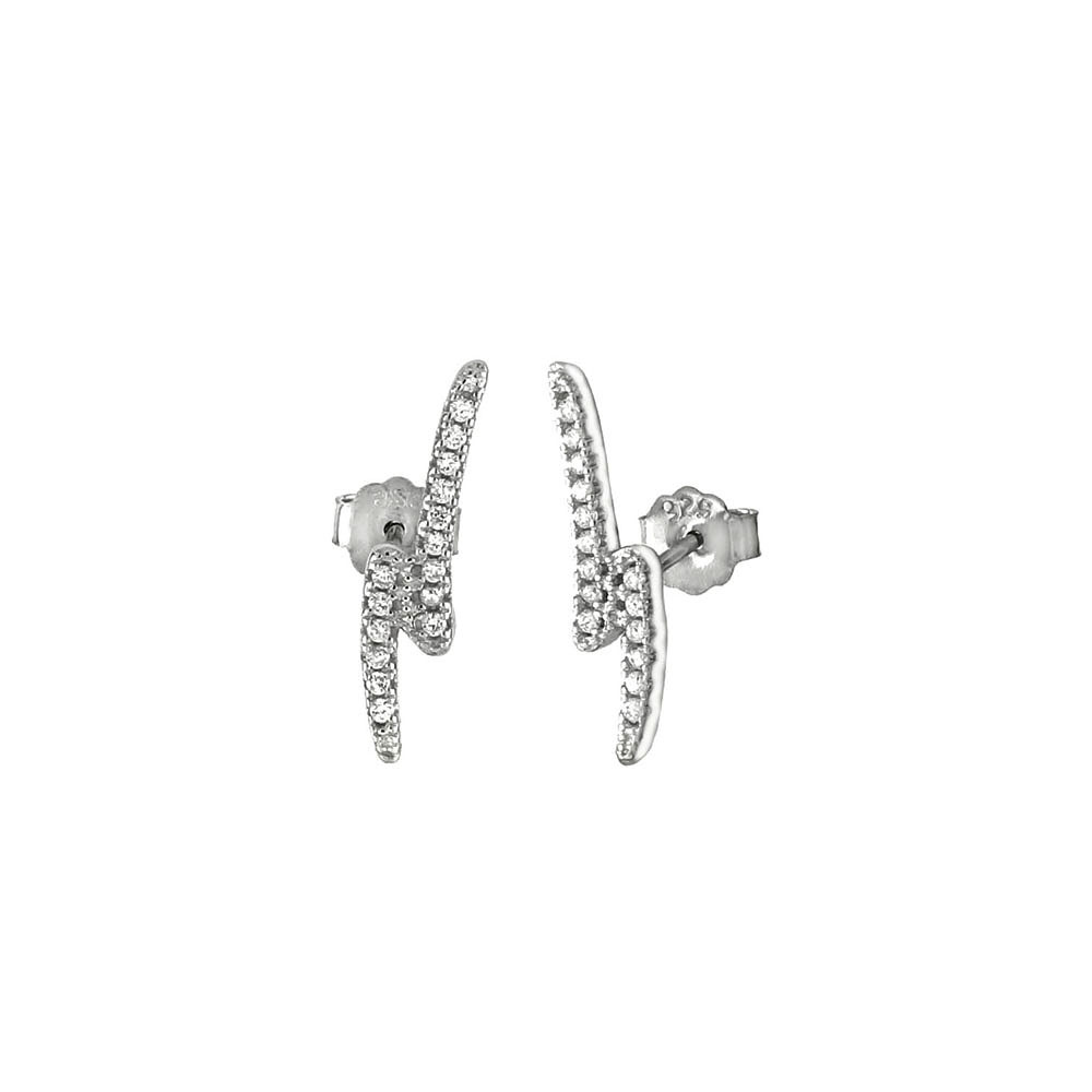 Sterling Silver Pave CZ Lightning Bolt Rhodium Stud Earrings