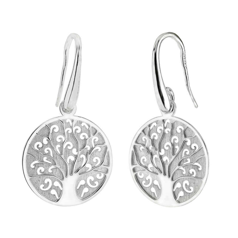 Italian Sterling Silver Tree of Life Laser Cut Earrings