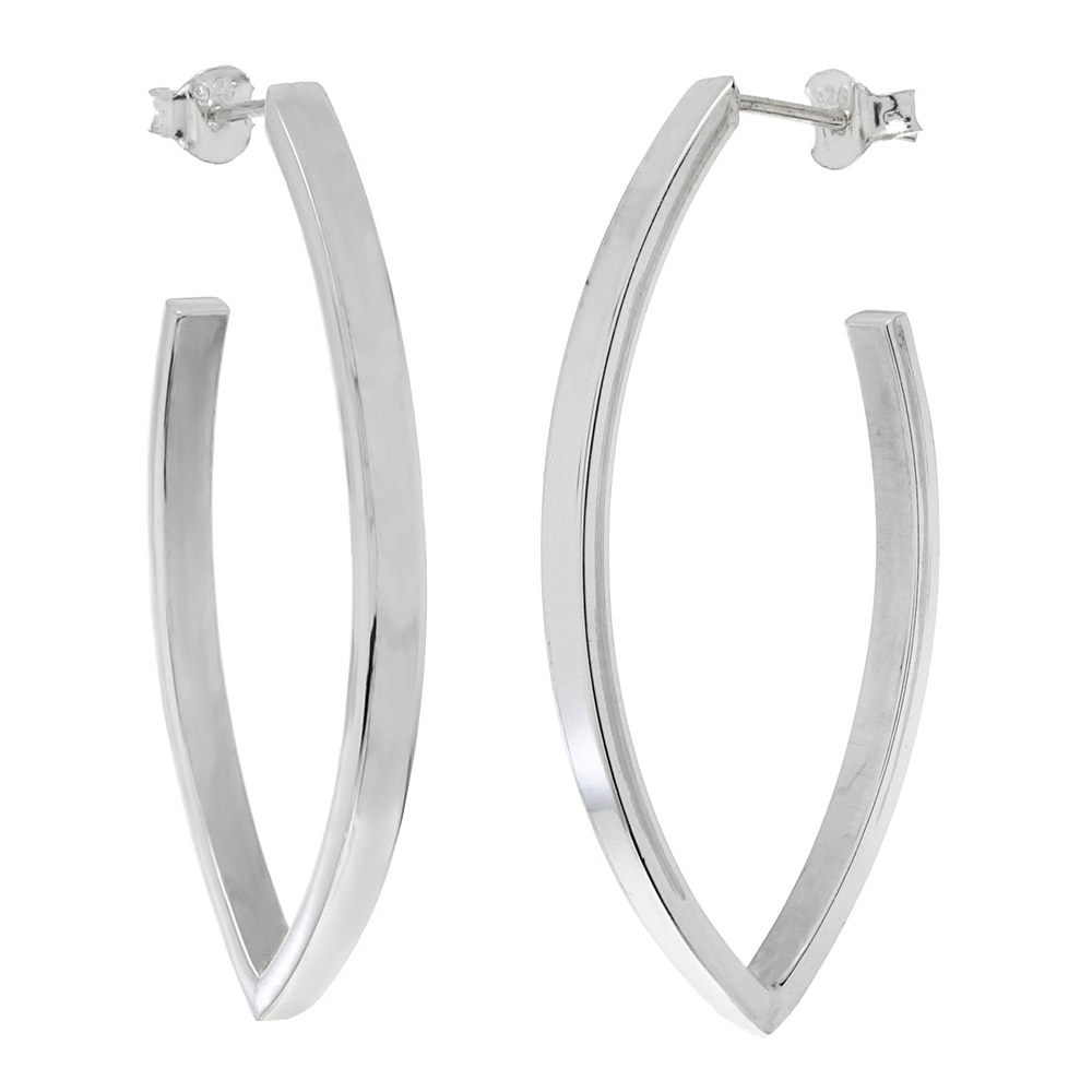 Sterling Silver Marquise Shape Post Earrings