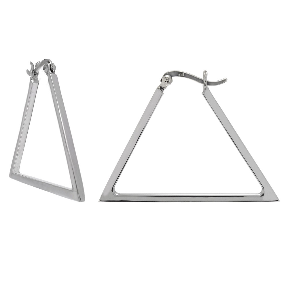 Sterling Silver Square Tube Triangle Hoop Earrings