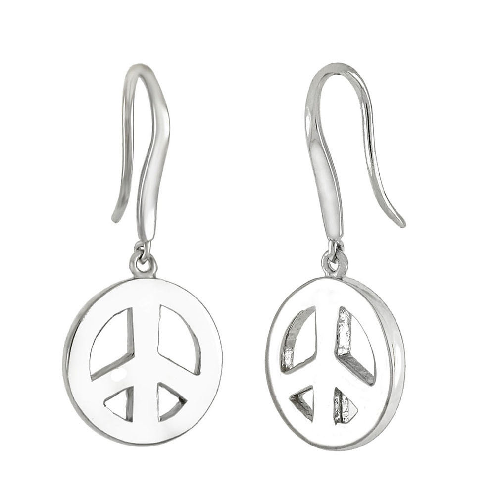 Sterling Silver Peace Symbol Rhodium Dangle Earrings