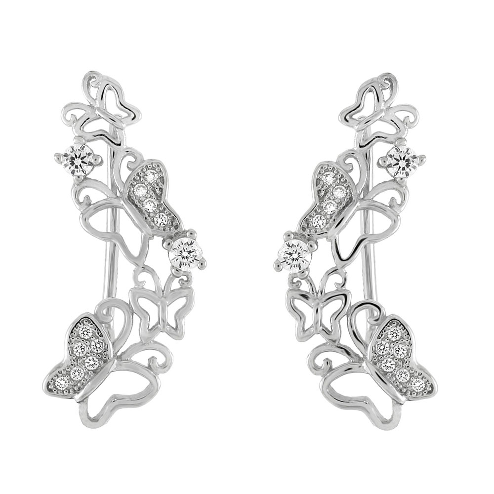 Sterling Silver Butterflies CZ Ear Climber Earring