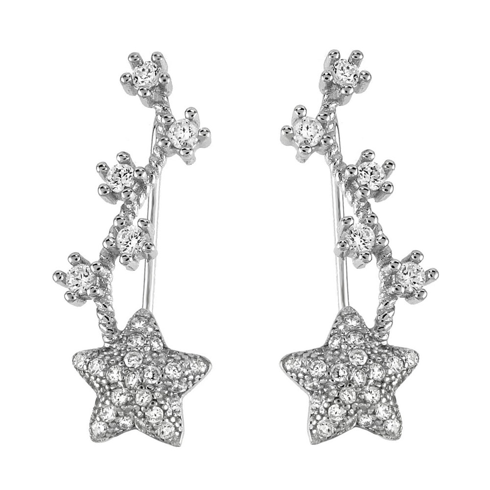 Sterling Silver Star CZ Clip Ear Climbers Earrings