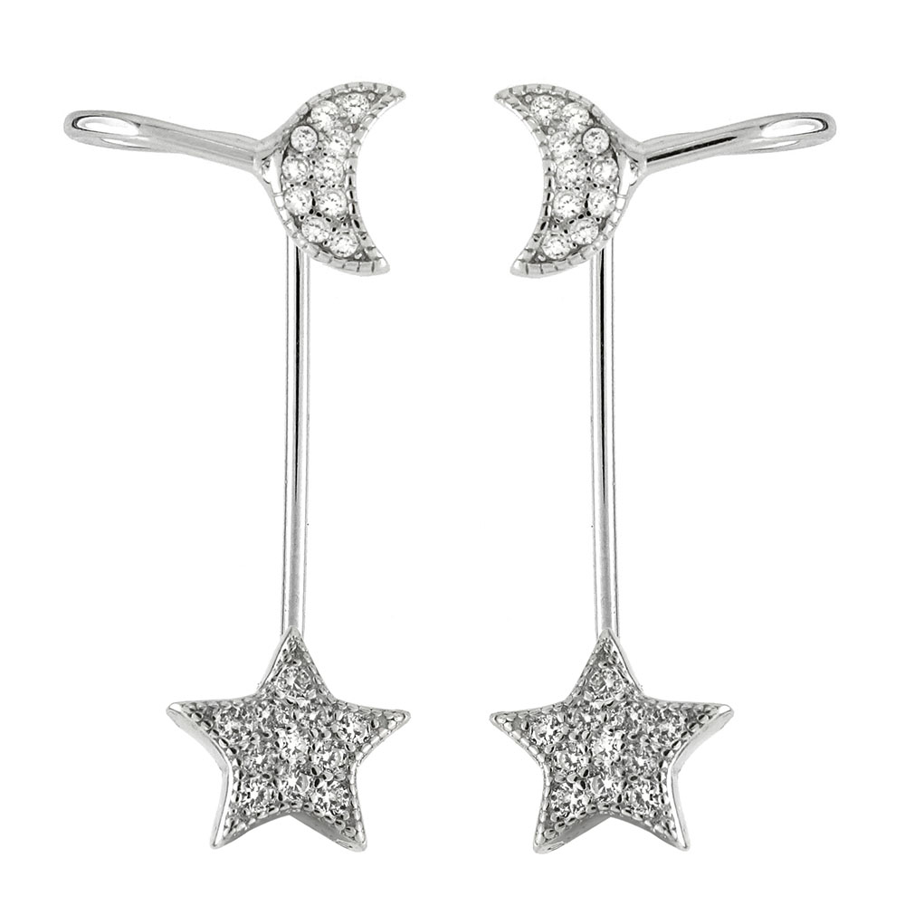 Sterling Silver CZ Moon & Star Ear-Jacket 2 in 1 Earrings