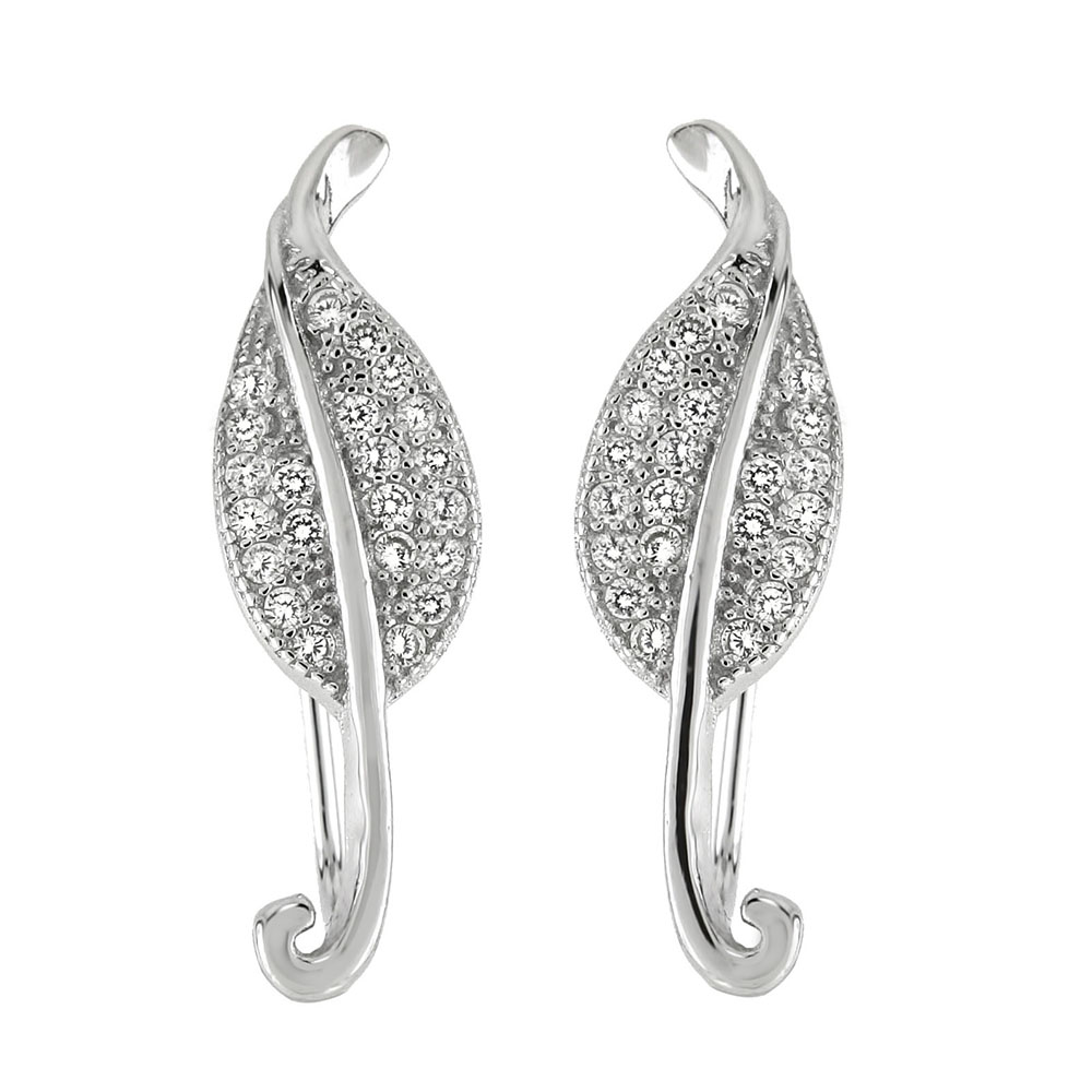 Sterling Silver Cubic Zirconia Leaf Ear Crawlers