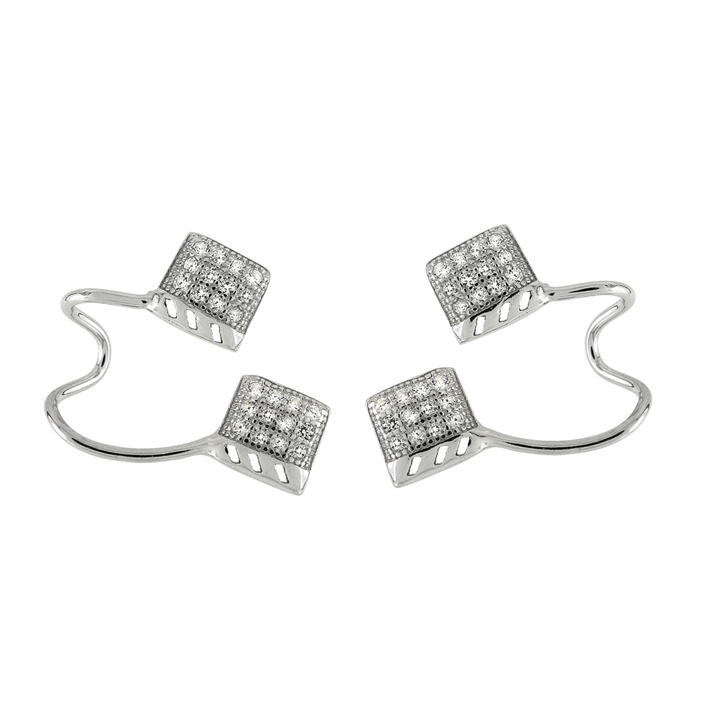 Sterling Silver Pave CZ Ear-Cuff Earrings