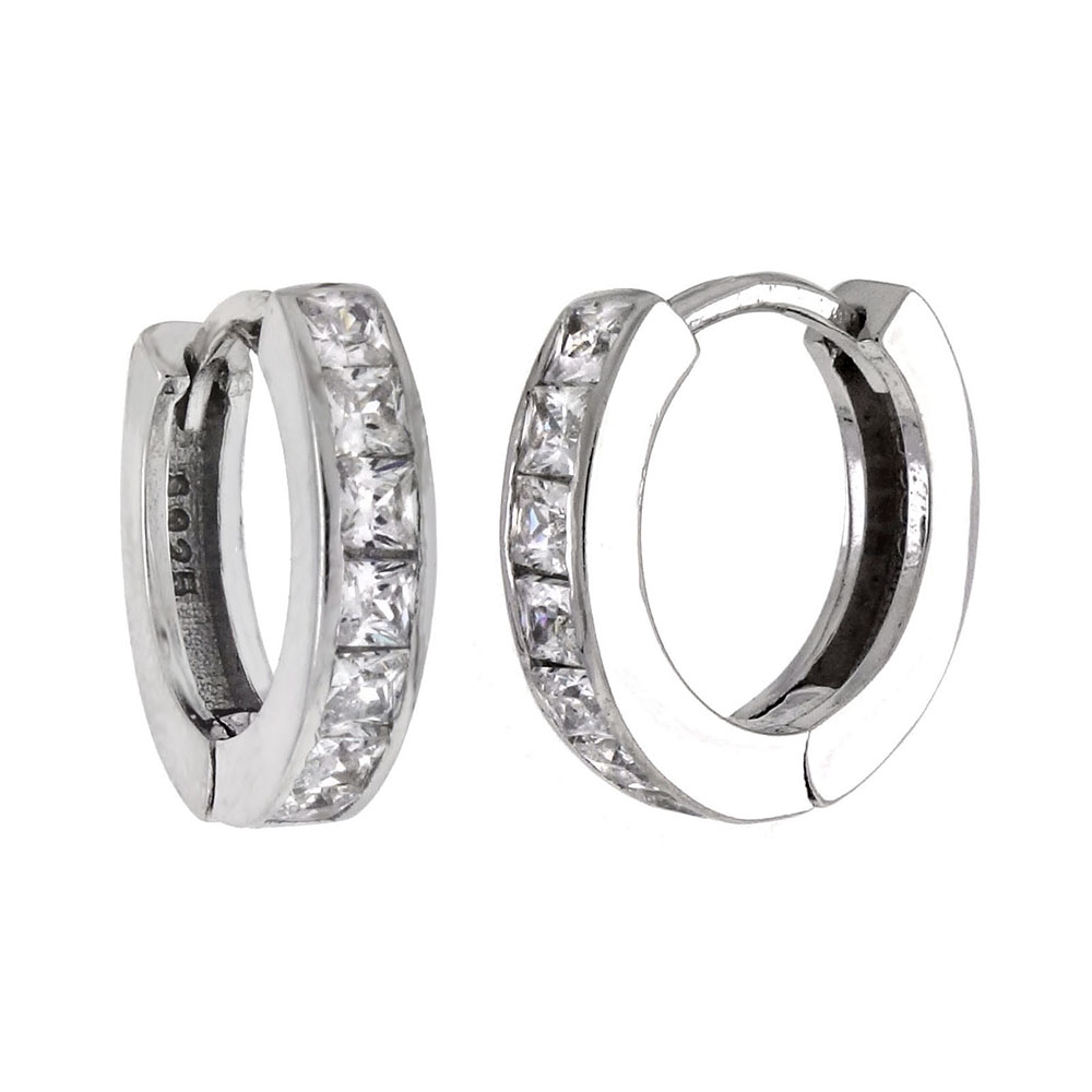 Sterling Silver Princess CZ Huggie Earrings
