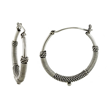 Sterling Silver Bali Oxidized Hoop Earrings