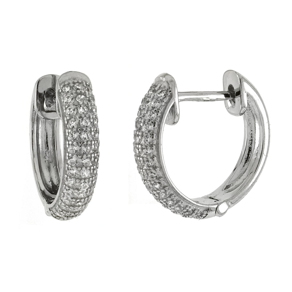 Sterling Silver 3 Lines Micro Pave CZ Huggie Hoop Earrings