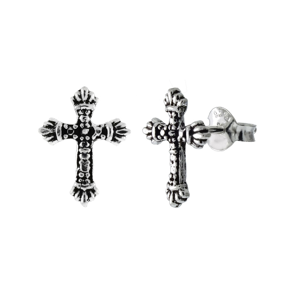 Sterling Silver Cross Oxidized Stud Earrings
