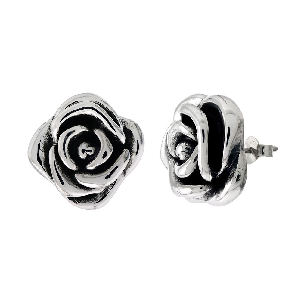 Sterling Silver Electroformed Oxidized Rose Earrings