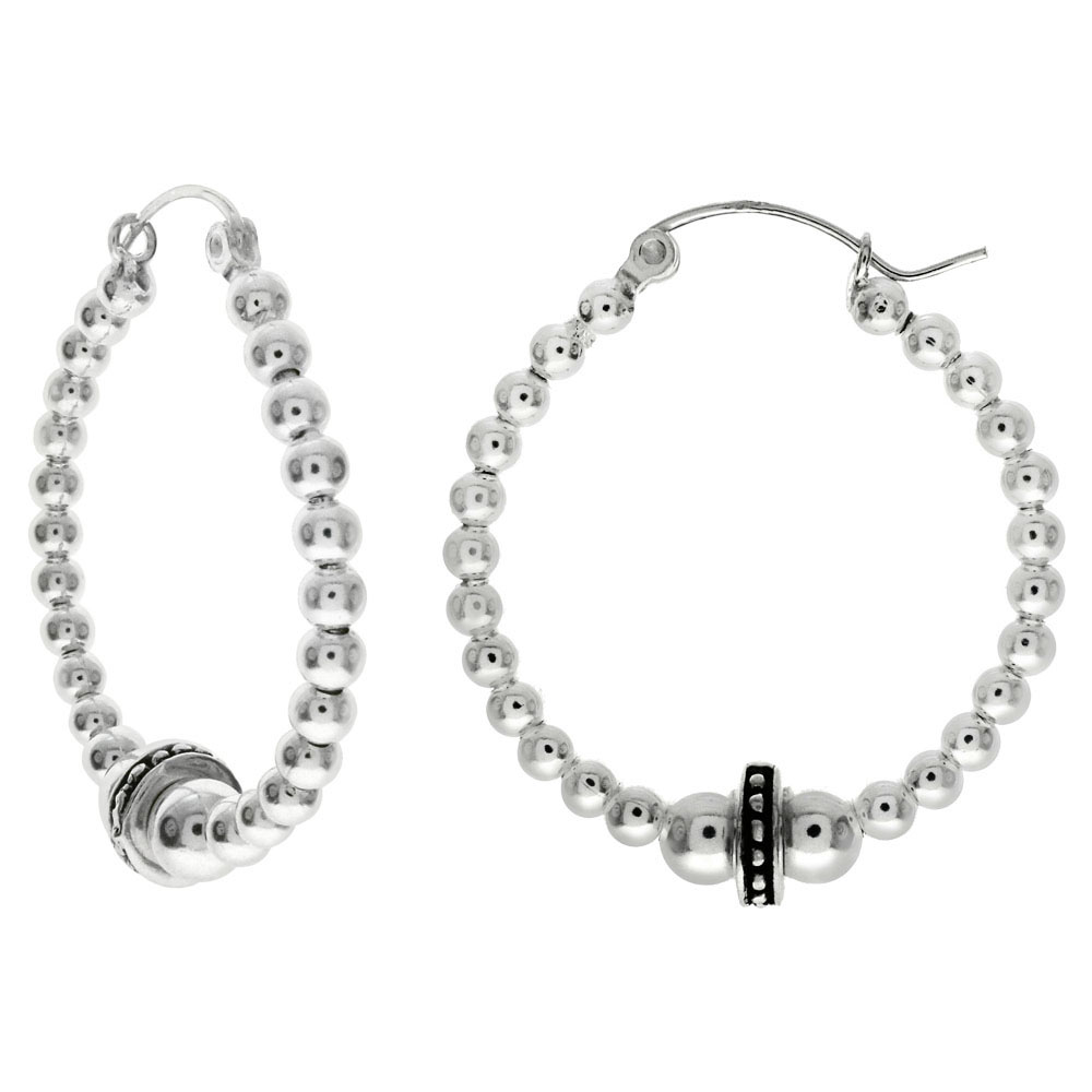 Sterling Silver Beads Hoop Earrings