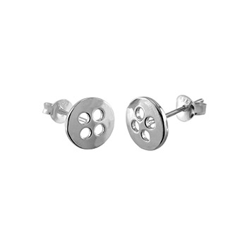 Sterling Silver Button Rhodium Stud Earrings