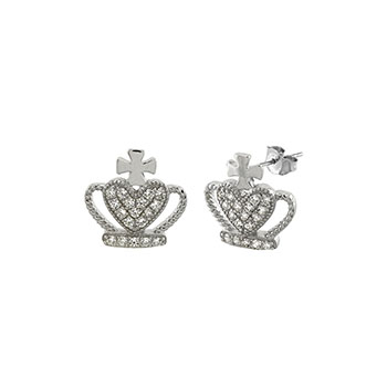 Sterling Silver Crown Pave CZ Stud Earrings