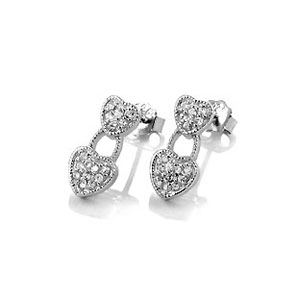 Sterling Silver Cubic Double Heart Cubic Zirconia Earrings