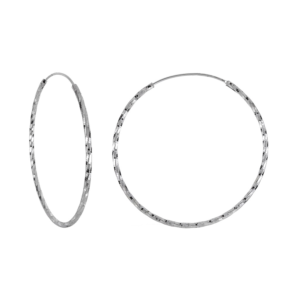 Italian Sterling Silver D/C Rhodium Hoop Earrings