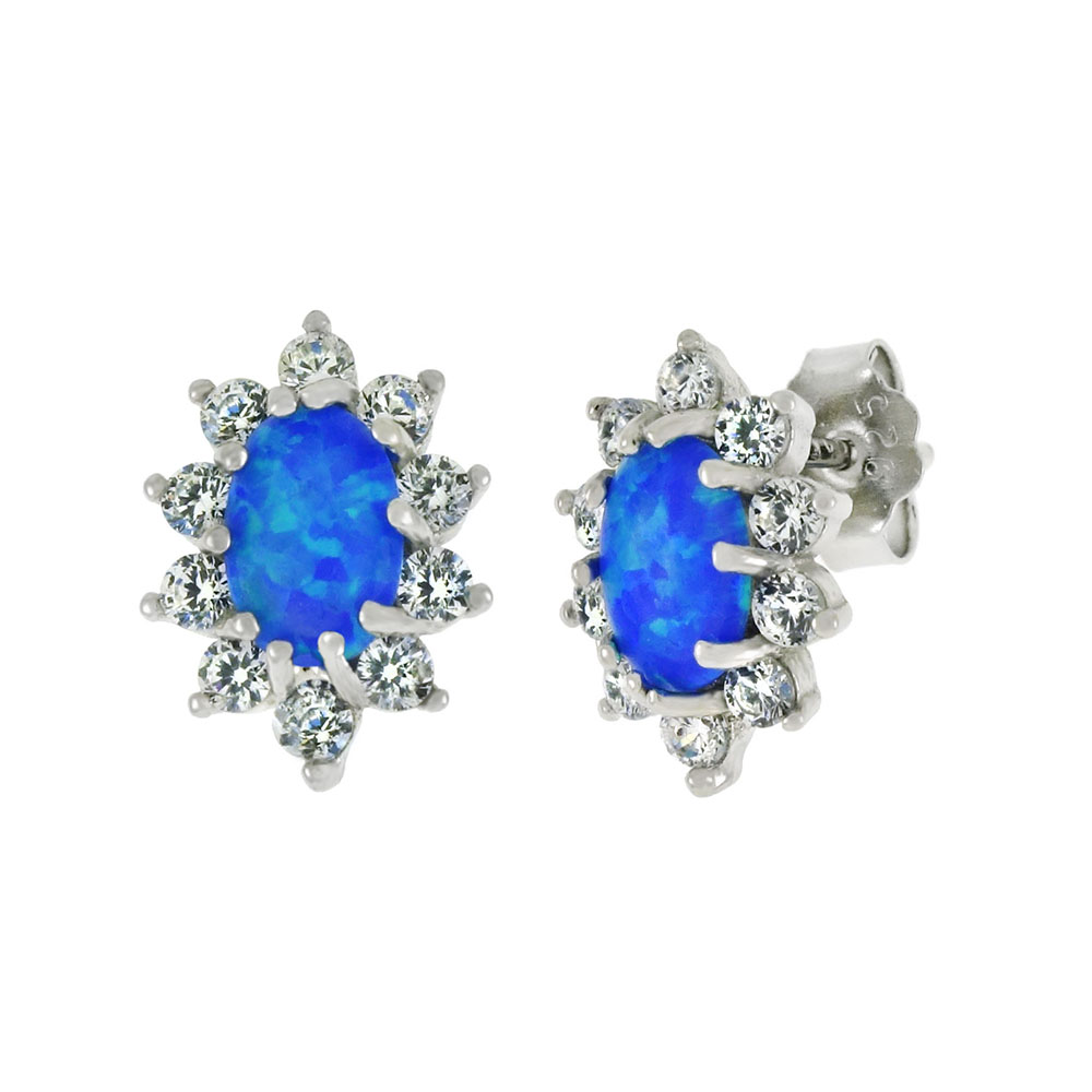 Sterling Silver CZ W. Imitation Blue Opal Stud Earrings