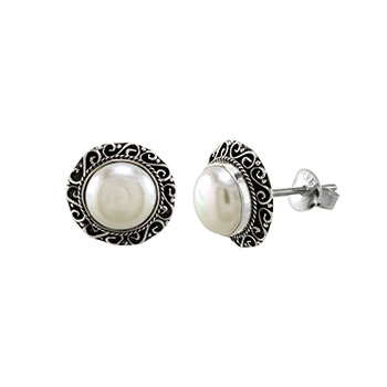 Sterling Silver 10mm Mabe Pearl Oxidized Earrings