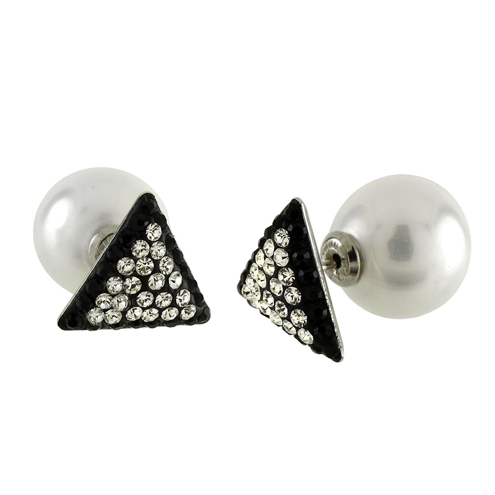 Sterling Silver Inmitation Pearl & Triangle Crystal Earrings