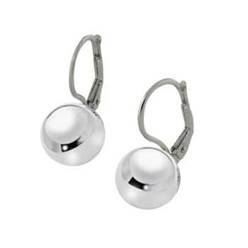 Italian Sterling Silver 10 MM Ball W. Lever Back Earrings