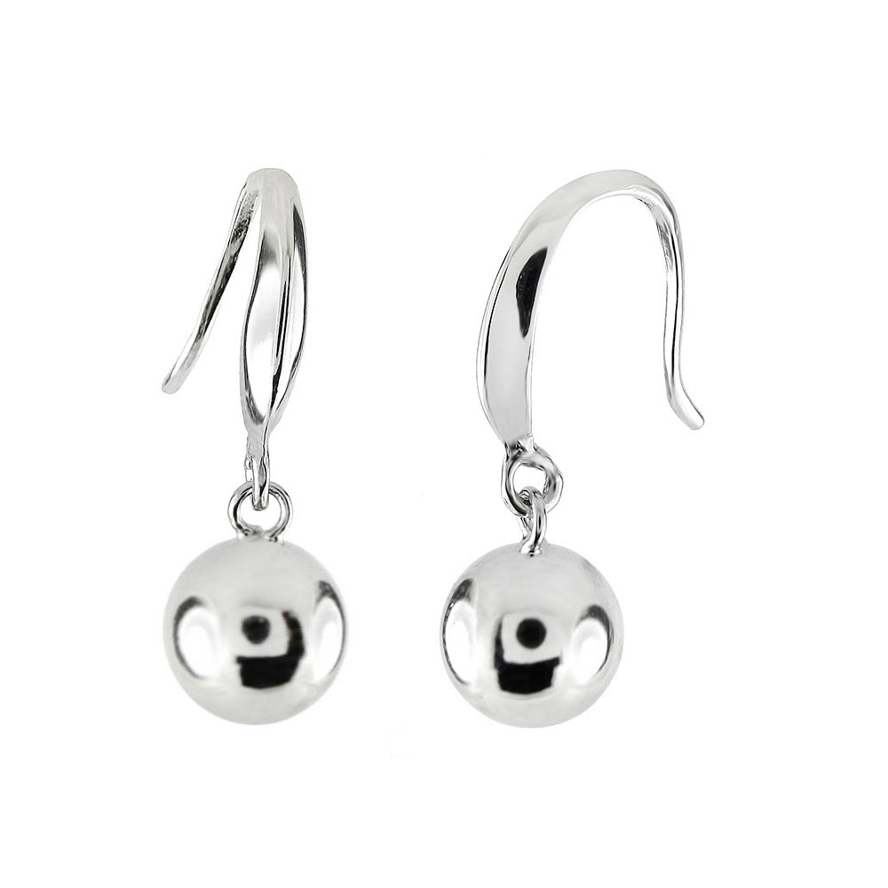 Sterling Silver 8 MM Dangle Ball Rhodium Earrings