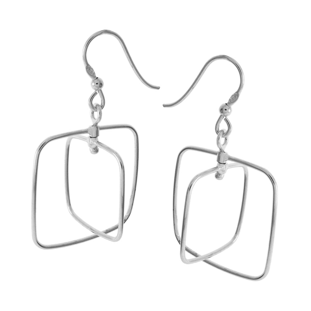Italian Sterling Silver Rhodium Dangle Earrings