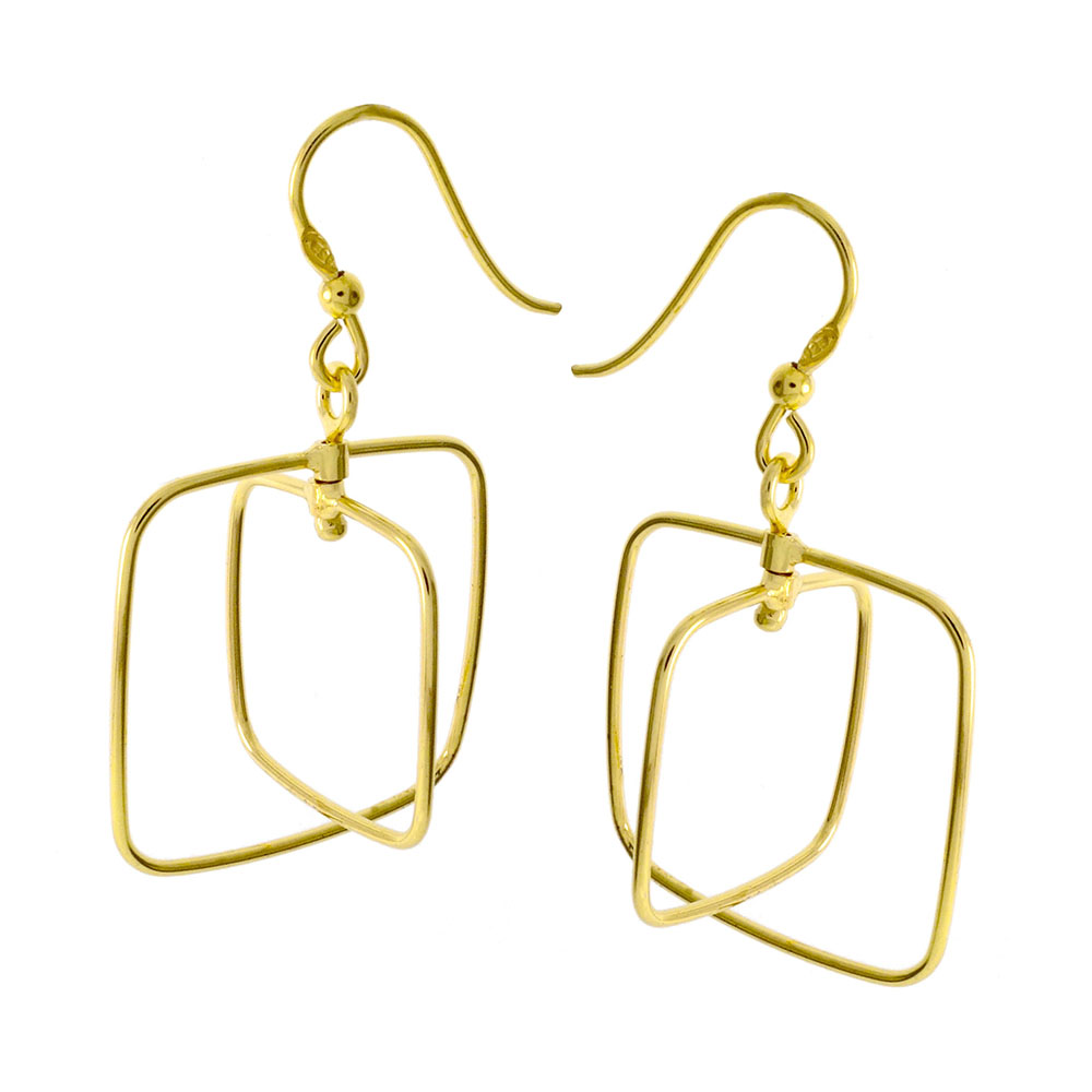 Italian Sterling Silver Gold Plated Dangle Earrings