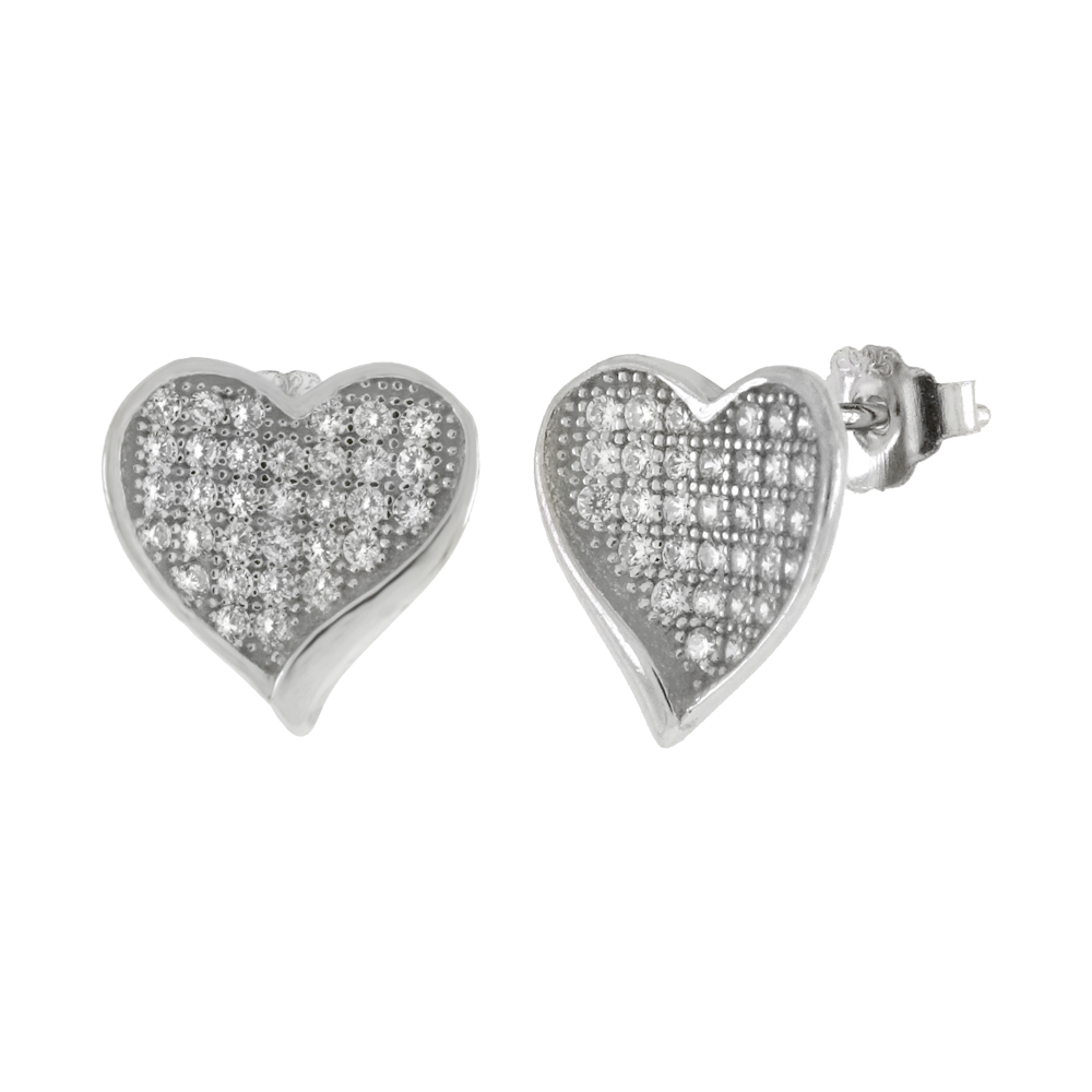 Sterling Silver Cubic Zirconia Micro Pave Heart Earrings