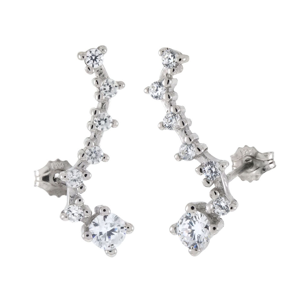 Sterling Silver Ear Climbers Cubic Zirconia Post Earrings