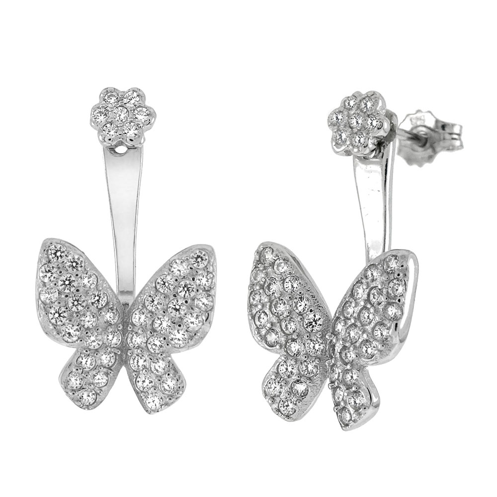 Sterling Silver Butterfly Pave CZ Ear Jacket 2 in 1 Earrings