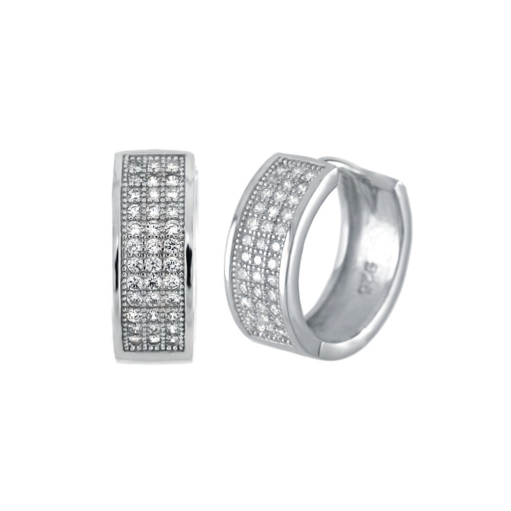 Sterling Silver 3 Lines Pave CZ Huggie Earrings