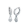 Sterling Silver CZ Dangle Heart Huggie Earrings