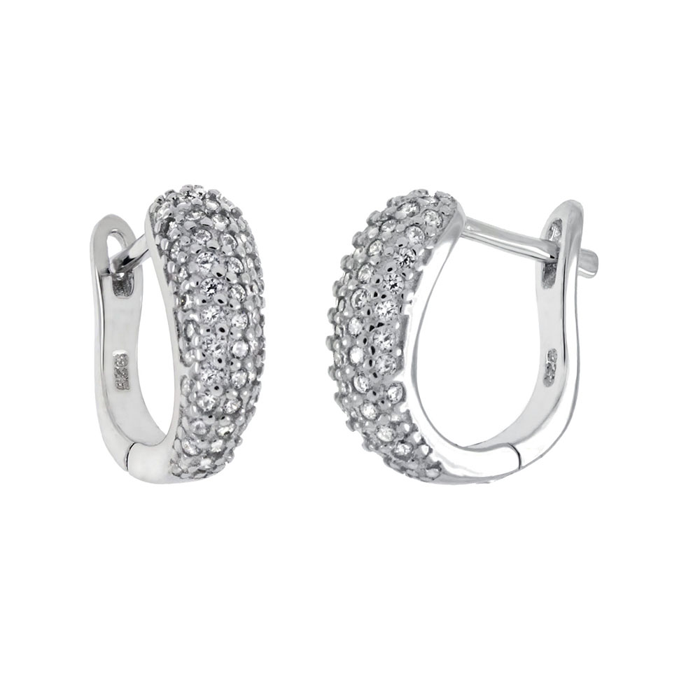 Sterling Silver Cubic Zirconia French-Style Hoop Earrings